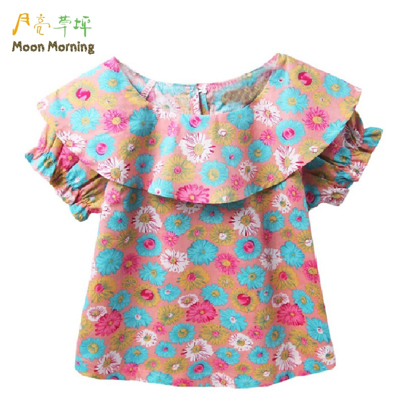 Moon Morning Girls Blouse Cotton 2T~10T Short Sleeve Print Fashion Ruffles Lovely Meisje Shirts Cool Summer Casual Upper Unidorm