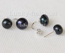 ФОТО 100% new image > stylish twinborn 10mm black freshwater pearls earrings