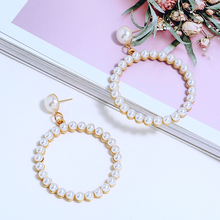 L&H Exquisite Luxury Dangle Earrings For Women Hollow Round with Pearl Drop Earrings Fashion Simple Party Earrings Jewelry Trend цена и фото