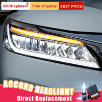 2Pcs LED Headlights For Honda Accord 2016 led car lights Angel eyes ALL LED KIT Fog lights LED Daytime Running Lights