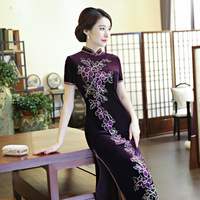 Wholesale Velvet Cheongsam Embroidery Qipao Pattern Chinese Traditional Dress Stretch Cheongsams Velour Long Purple Gown Qi Pao