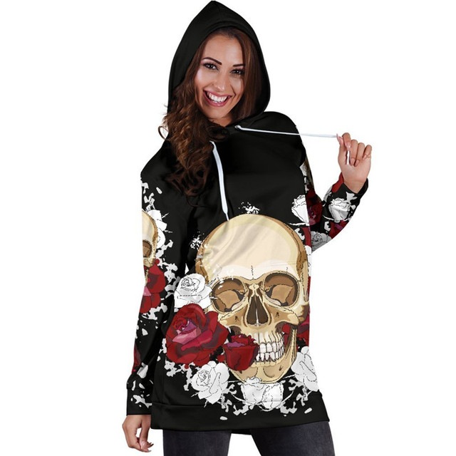 b42e04b8e1f7 3D Hooded Women Skull Rose Hoodie 2019 Autumn Hoodies With Pockets Pullover  Hoody Tops Sexy Mini