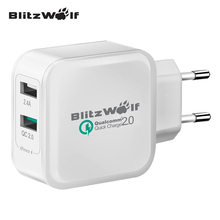 BlitzWolf Hot EU QC2.0 2.4A 30W Certified Dual USB Quick Fast Phone Charger Adapter With Power3S Tech For Samsung For iPhone