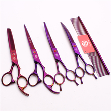 20Sets Suit 7 Japan Purple Dragon Pets Hair Clipper Grooming-for-dogs Comb+Cutting&Thinning Scissors+Up&Down Curved Shear Z3002