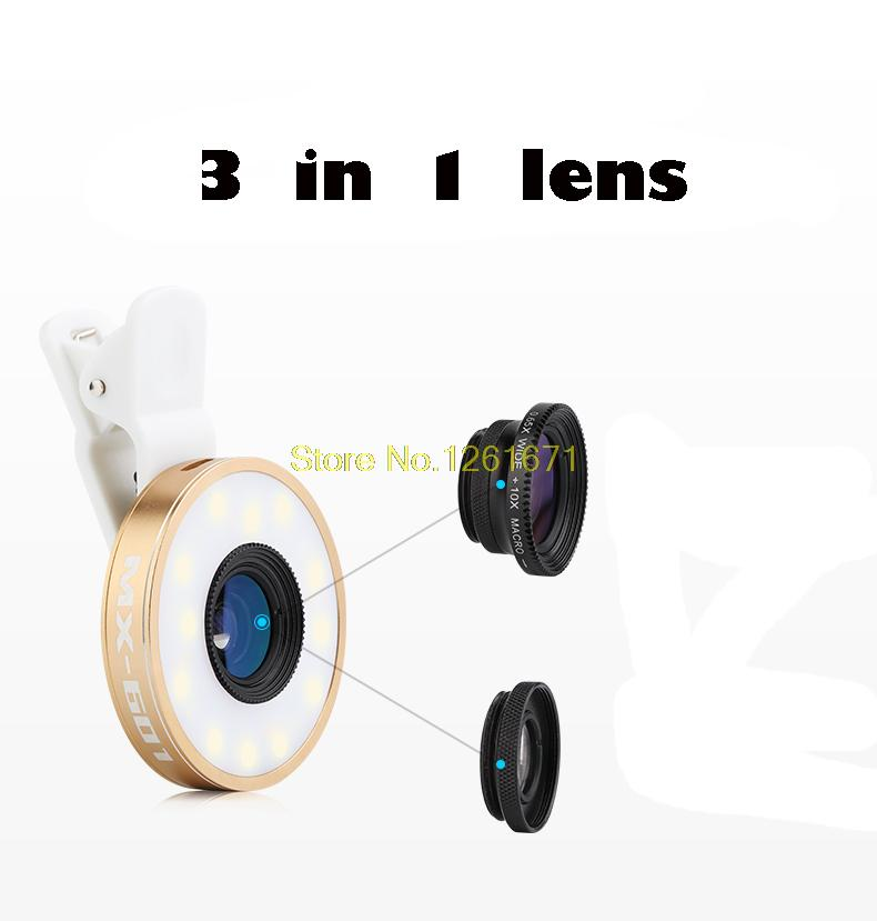Fisheye Phone Camera Lens Kit LED Selfie Fill-in light + Macro + Wide Angle Lens for iPhone 7 7plus Samsung S8 S7 Universal V04 9