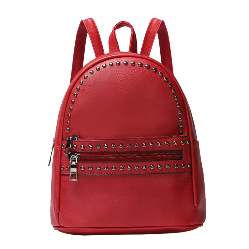 25f7b70b1785 Women Fashion Rivets Backpack Travel PU Leather Bag Rucksack Small Shoulder  School Bags for Girls Backpacks