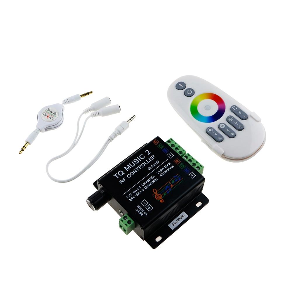 DC12V 24V RGB LED Remote Controller RF Music Sound Audio control 18A 3 Channel TQ Music 2 for SMD 3528 5050 5630 Led Strip Light
