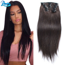 Full Head Clip In Human Hair Extensions Straight Human Hair Clip Ins 1B Black Clip In