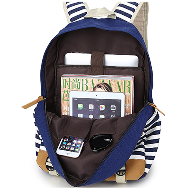 College Striped Women Backpack Daily Book Bags Fringe Bagpack 15.6 inch Computer Student Bag for Teenagers Girls 3