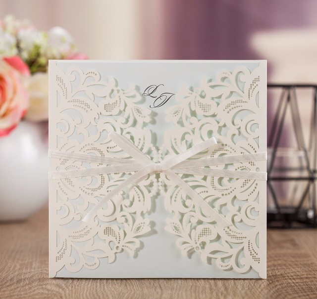 wishmade luxury lace laser cutting invitation cards wedding with