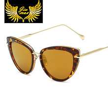 2017 новое поступление модные женские качество глаза кошки солнцезащитные очки в стиле ретро-дизайн металла квадратных солнцезащитные очки для женщин Óculos De Sol