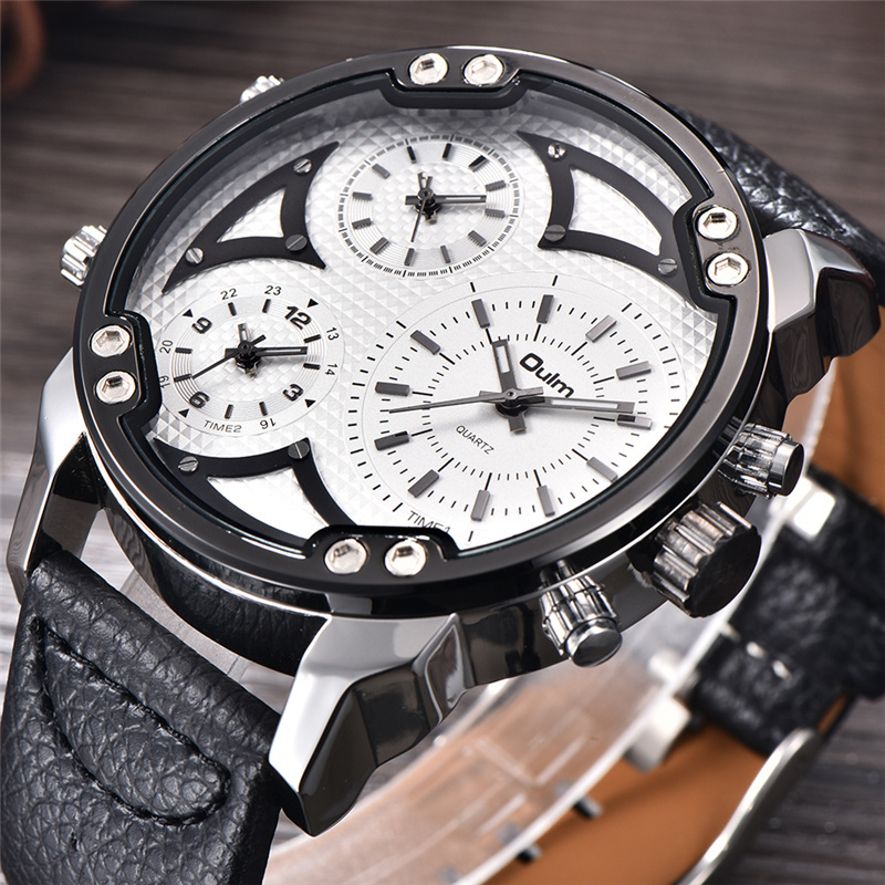Oulm New Model Luxury Brand Men's Watches Three Time Zone Casual Leather Wristwatch Outdoor Sports Style Male Big Quartz Watch oulm 3595 quartz watches men brand rectangle fashion sports watch three time zone men s wristwatch male clock