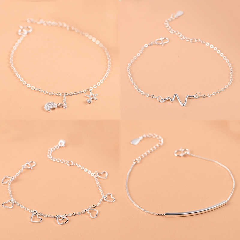 925 Sterling Silver Charm Bracelet For Women Girls Luxury Brand Heart Lovely Cute Anklet Jewelry Pulseras Mujer