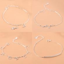 925 Sterling Silver Charm Bracelet For Women Girls Luxury Brand Heart Lovely Cute Anklet Jewelry Pulseras Mujer цена 2017