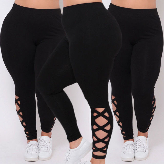 2452770d0c6 HIRIGIN Newest Hot Womens Black Leggings Plus Size Spandex Curvy Casual  Pants Solid New Soft