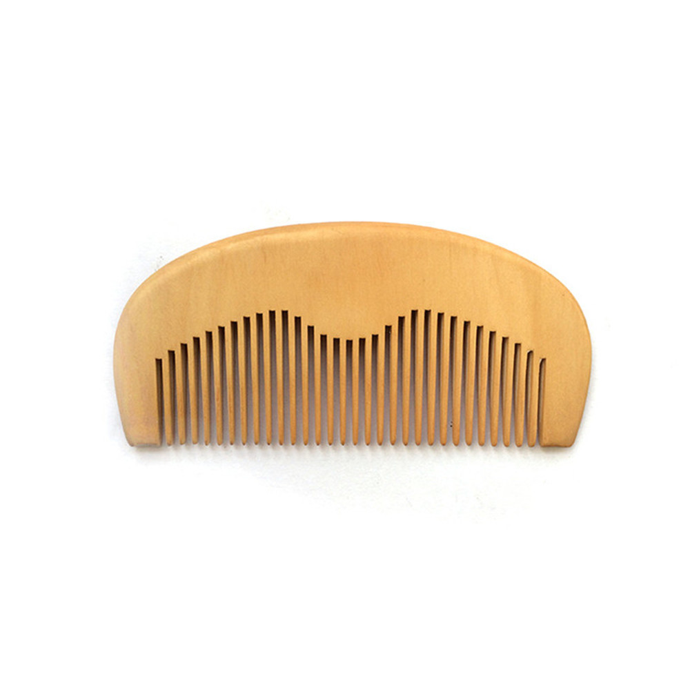 Купить с кэшбэком 50 pcs/lot Customized LOGO Beard Combs Man Natural Peach Wood Comb Hair Comb Laser Engraved Logo Anti Static Pocket Comb for Men