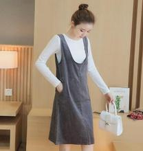 2016 Autumn and winter Maternity Dress Two-piece set  pure white T + corduroy vest Dresses for pregnant women HYF63082680