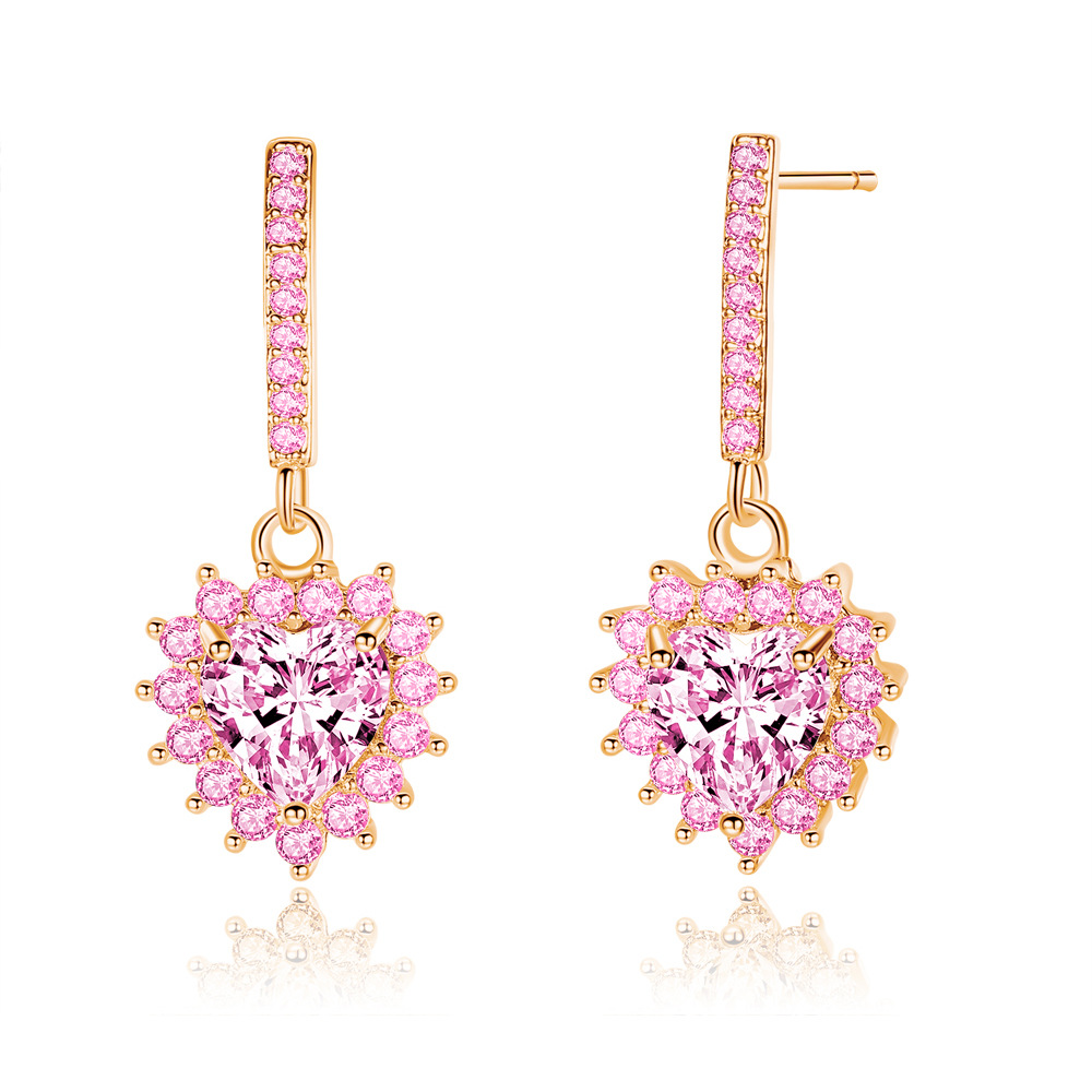 Luxury full cz crystal love heart earrings sweet pink heart long earrings