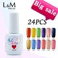 24 pcs New Gelartist Soak Off Uv Gel Polish 602 colors (2 base+20 colors +2top) fashion color gel nails Gel Vanish Gelpolish