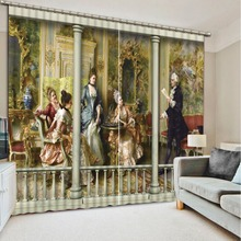 High quality custom 3d curtain fabric  European Curtains Photo Painted 3D Curtain Living room angel curtains