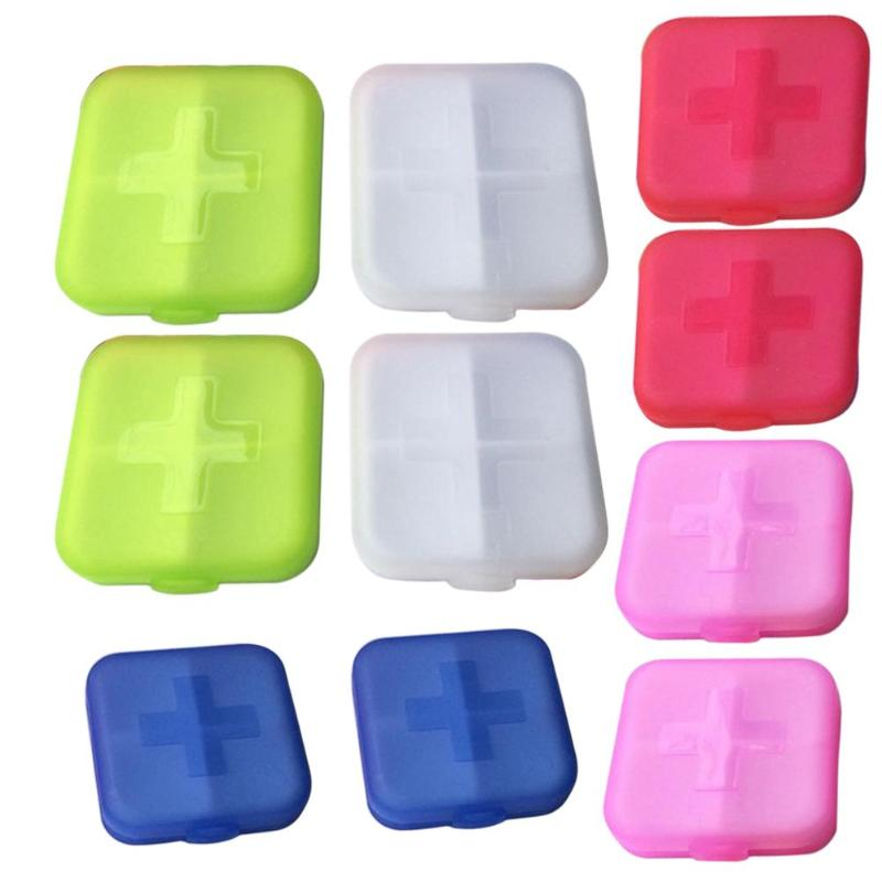 10 Pcs 4 Layer Tablet Pill Box Storage Organizer Container Holder Medicines Case for Splitters Pill Box Medicines Organizer