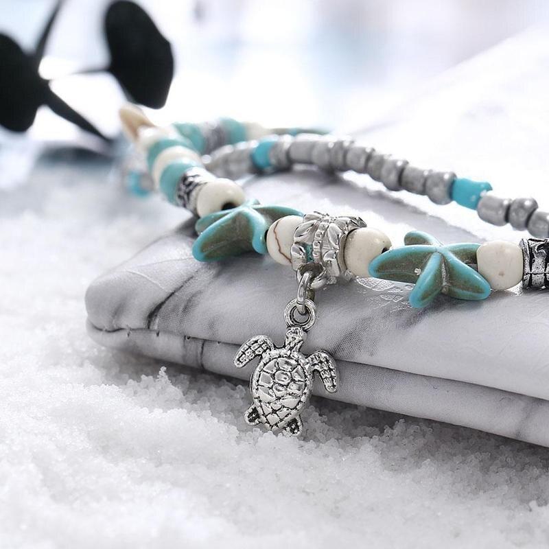 Summer Sea Turtle Starfish Beads Bracelets For Women Natural Blue Ocean Stone Yoga Bracelet Girl's Gift Bohemia Beach Jewelry