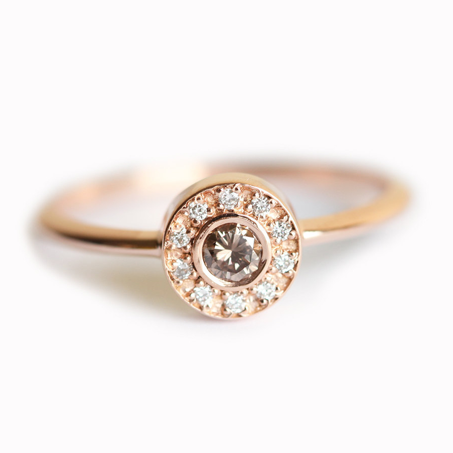 Rose Solid Gold 01ct Round Cut Diamond  Jewelry Engagement Wedding Fashion Bague