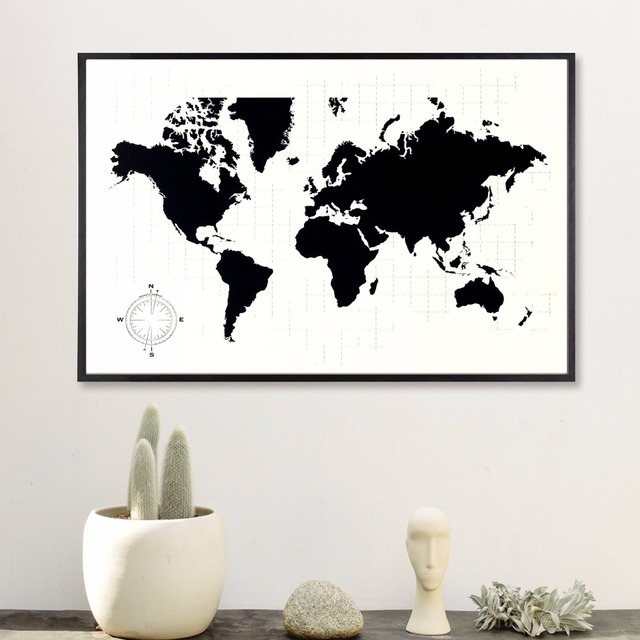 Black And White World Map Framed.Black And White World Map Vintage Canvas Art Print Painting Poster