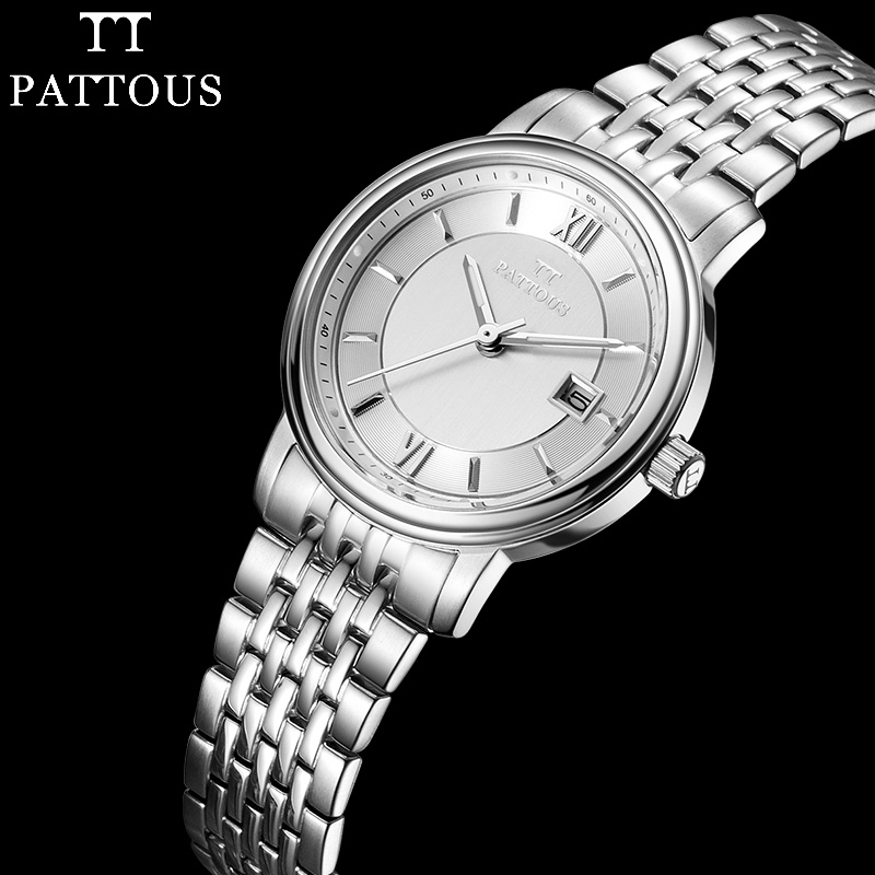 PATTOUS Ladies Watches Brands Full Stainless Steel Date Display ...