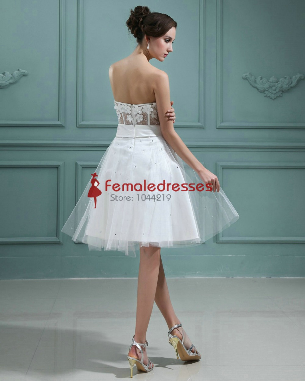 New Style A line Strapless Tulle Inverted Basque Ivory 2014 Short ...