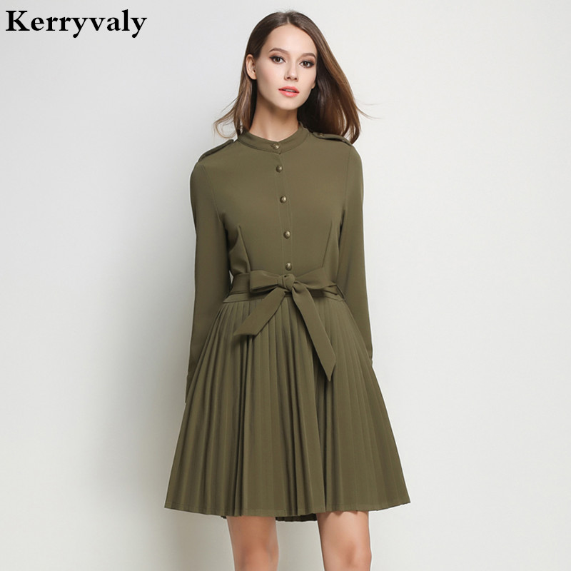 OL Women Army Green Office Winter Dress Vetement Femme 2017 Vestido Vintage Long Sleeve Pleated Dashiki Retro Dress K9017