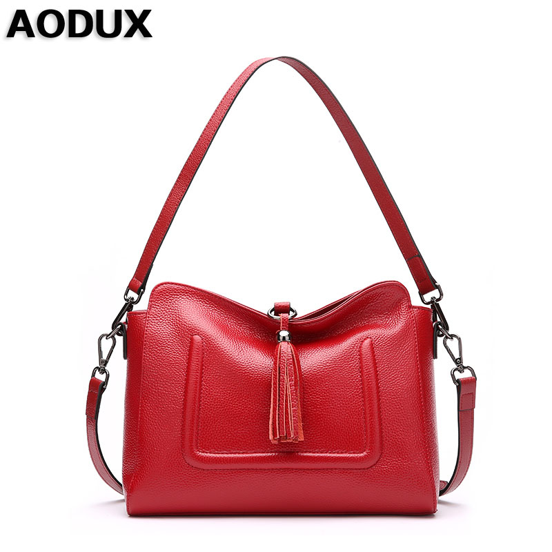 AODUX  Genuine Leather Small Women Shoulder Tassel Bags Tote Handbags First Layer Cow Leather Ladies Messenger Bag Satchel zency genuine leather small women shoulder tassel bags tote handbags first layer cow leather ladies messenger bag satchel