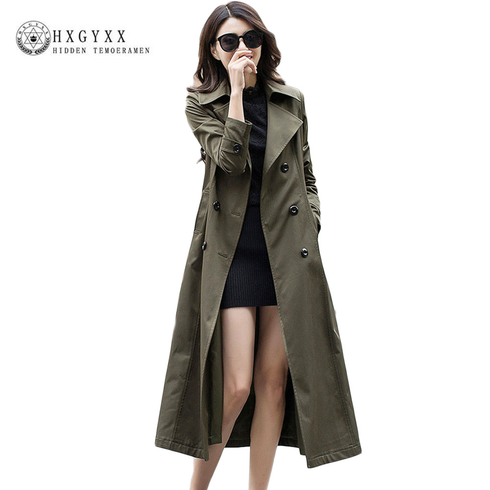 2019 Autumn Women Maxi Long Trech European Style Long Sleeve Slim Casual   Trench   Coat Pure Collar Double Breasted Outerwear OK075