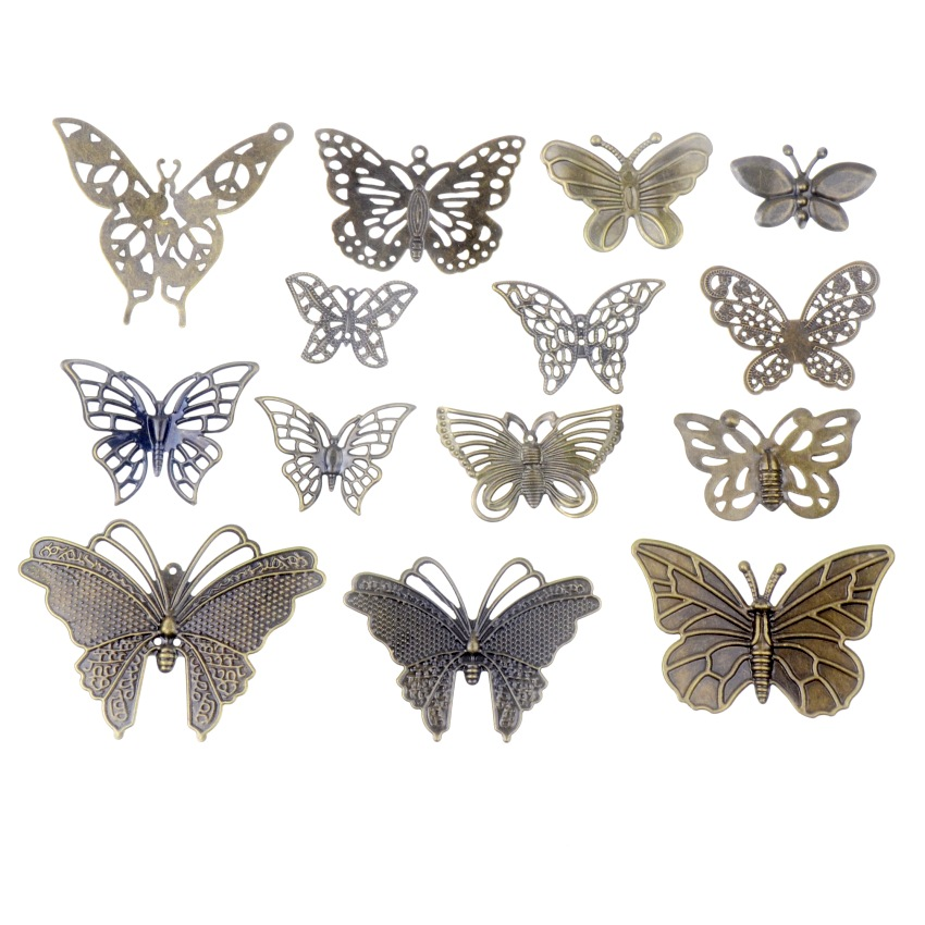 Free Shipping 10PCS Antique Bronze Color Metal Butterfly Filigree Wraps Connectors Crafts Gift Decoration DIY Jewelry Findings