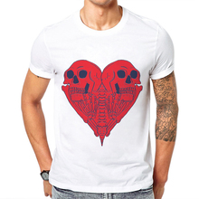 2019 New Arrival I Love You Skulls Men T shirt Short-Sleeve O-Neck Cotton Man T-Shirt Heart-shaped Skull Tee Shirt Men Clothing t shirt chicco size 086 flower i love you pink