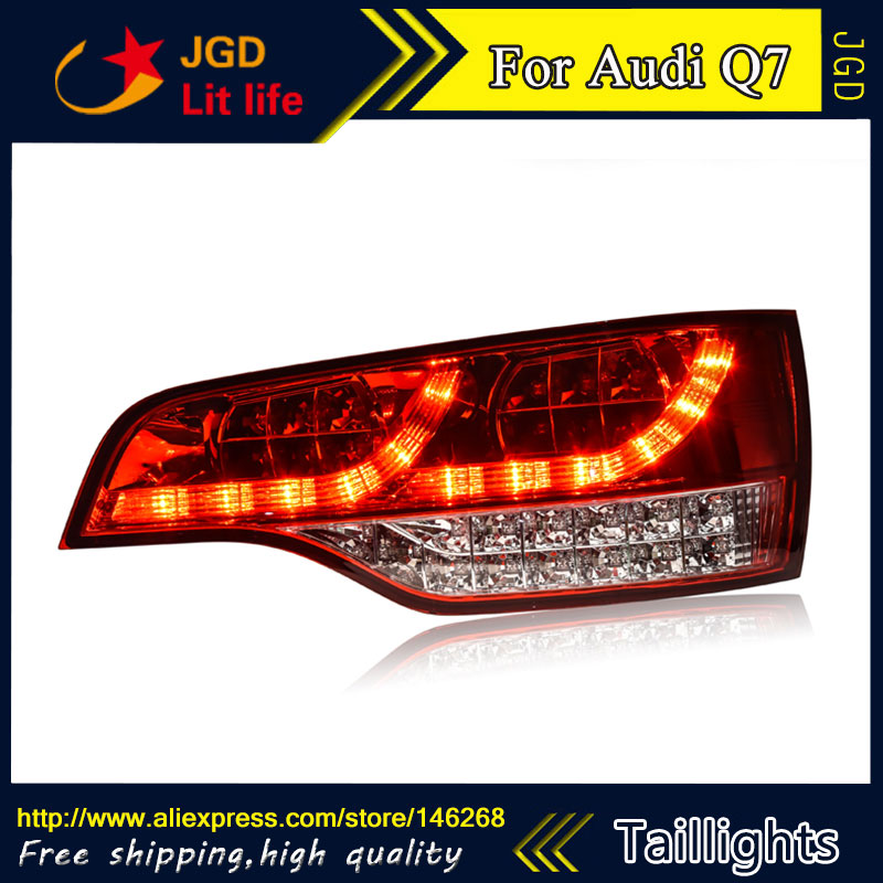 Car Styling tail lights for Audi Q7 LED Tail Lamp rear trunk lamp cover drl+signal+brake+reverse car styling tail lights for hyundai santa fe 2007 2013 taillights led tail lamp rear trunk lamp cover drl signal brake reverse