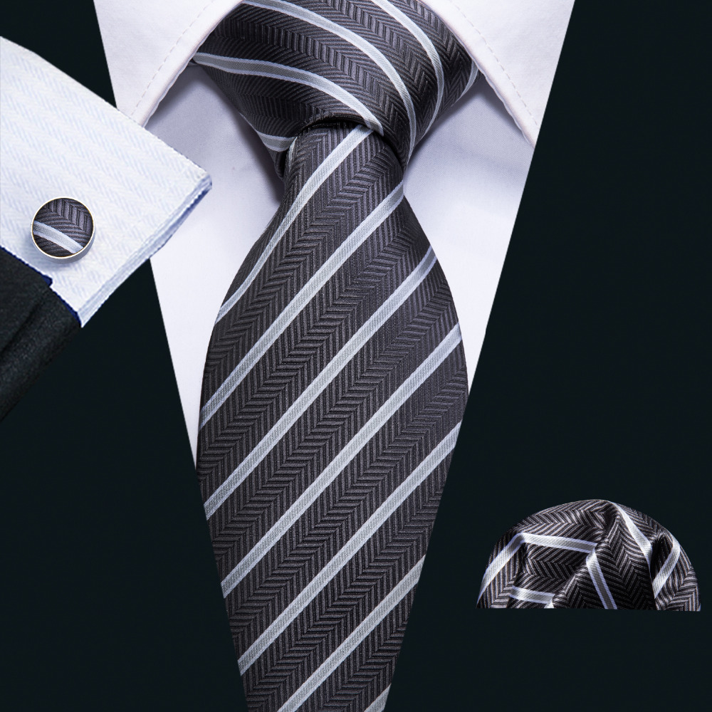 Black Striped 100% Silk Men Ties Set Fahsion Designer Neck Ties For Men Business Party 8.5cm Barry.Wang Tie Handkerchief FA-5080
