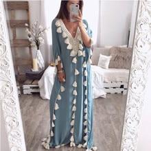 Women Summer Dress Bohemian Tassel Loose Dress Female V-neck Long Beach Dress round neck tassel long dress