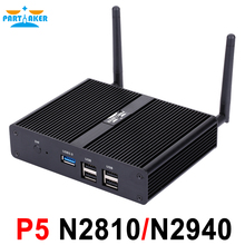 Intel Celeron Pentium N2810 N2940 N3510 J2850 Dual HDMI Palm Sized Barebone Fanless Mini PC with 4GB RAM 64GB SSD USB 3.0