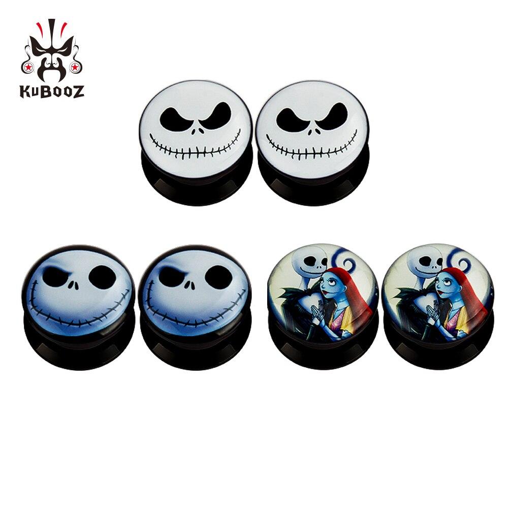 KUBOOZ 5 Pairs Smiling-Skull Acrylic Ear Plugs Tunnels Gauges Stretcher Piercings