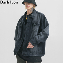 Dark Icon Tie Dyeing Denim Jacket Men Turn-down Oversized Mens Jackets Street Jeans Blac/White