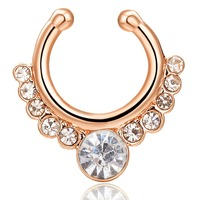 Disco Sexy Nose Rings For Women Crystal Round Nose Studs Gold Color Party Body Jewelry Fake