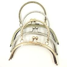 5Pcs Flowers Convex Metal Arc Frame Coins Purse Kiss Clasp Lock Handbag Handle Clutch Part 16.5cm