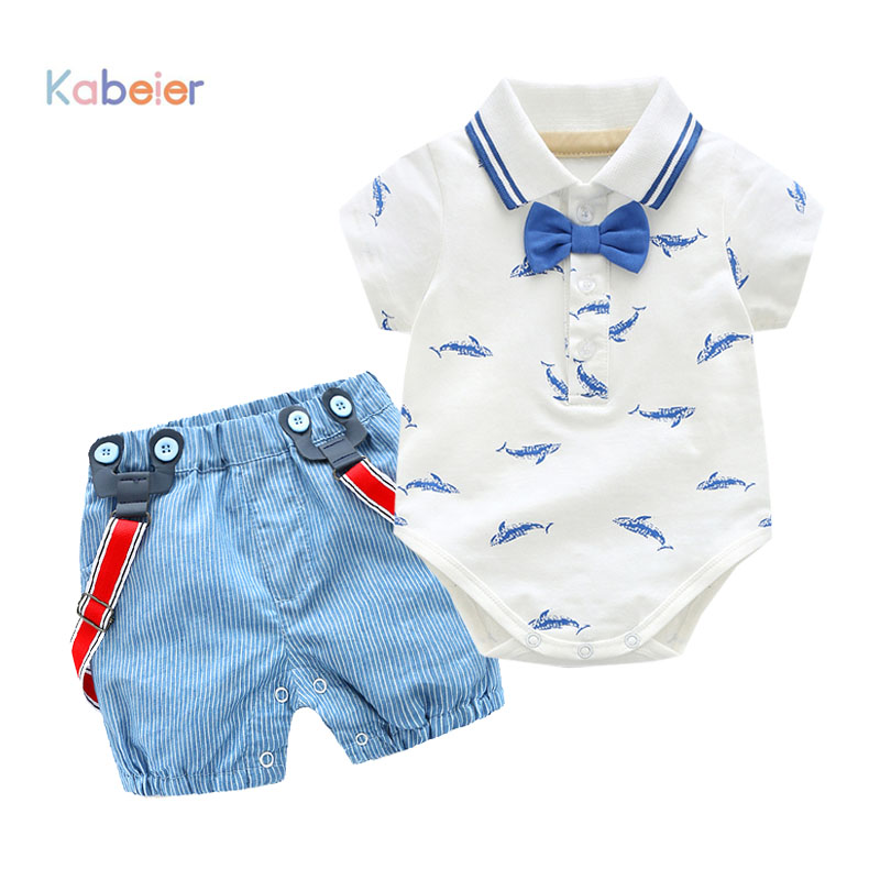 0-2Y Summer Newborn Baby Boy Romper Clothes Set Little Shark T-shirt Overalls +Blue Shorts Outfits Clothes Baby Clothing Set