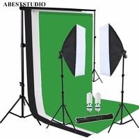 ABESTSTUDIO Photo Studio kit photo softbox hot sell Photo Studio set + 1.6x3m Black White Green Backdrop Stand Kit