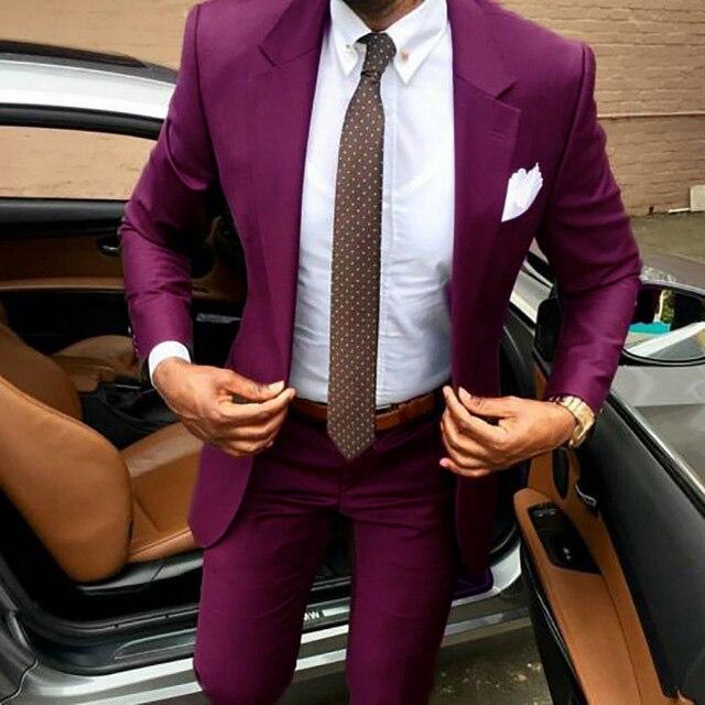 2019 dernier manteau pantalon conceptions marron hommes costume Slim fit élégant tuxedos de mariage entreprise fête robe d'été veste + pantalon terno - 5