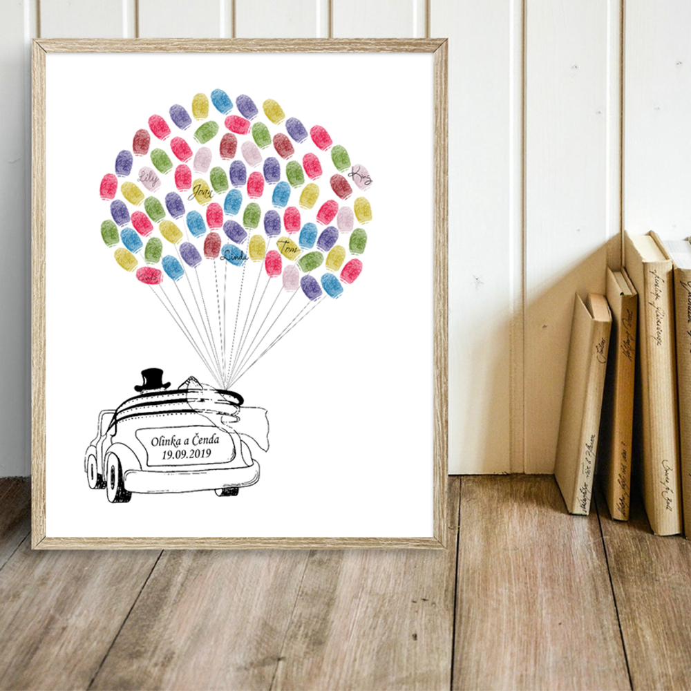 Free Custom Name Date Canvas Print Wedding Car Fingerprint Guest Book With Ink Pad,Simple Style Wedding Decoration Guestbook