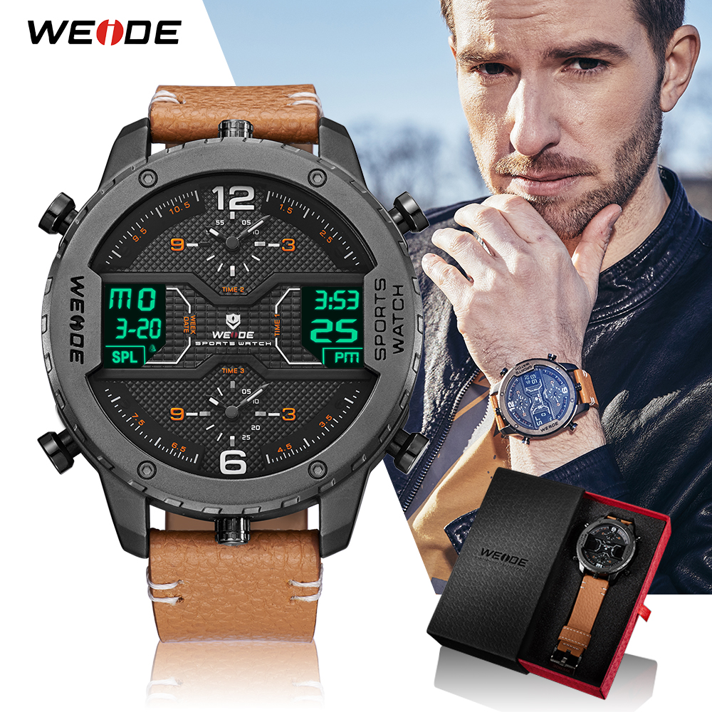 weide sport watches men luxury black leather strap quartz dual time zone analog date men military male clock oversize wristwatch WEIDE Sports Watches For Men Analog Watch Digital Calendar Date Quartz Leather Strap Wristwatch Relogio Masculino Military Clock