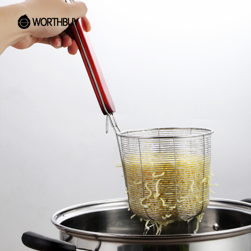 WORTHBUY 2 Pcs/Set Stainless Steel Sieve Noodle Food Vegetable Colander With Wooden Handle Fried Strainer Kitchen Accessories