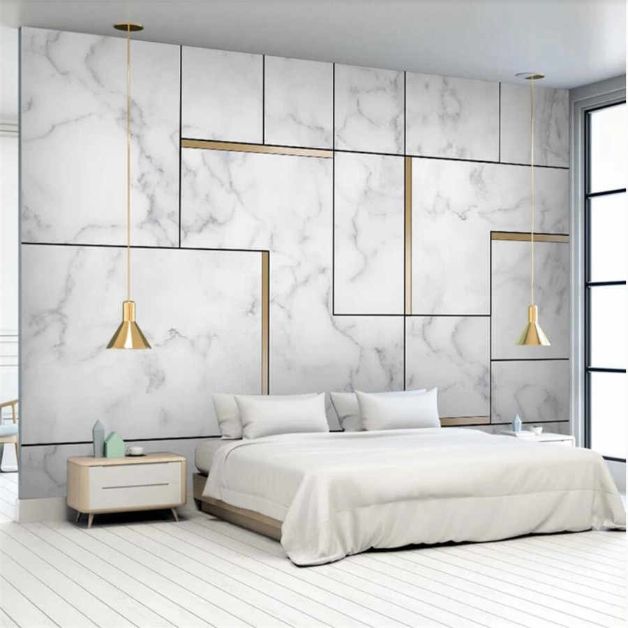 Custom wallpaper 3D stereo photo murals papel de parede Nordic simple personality marble geometry gold TV background wall paper